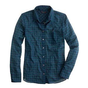 Used J.Crew Crinkle Boy Shirt in Black Watch Plaid